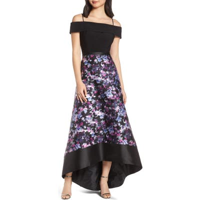 Morgan & Co. Cold Shoulder Mikado High/low Hem Evening Dress, Black