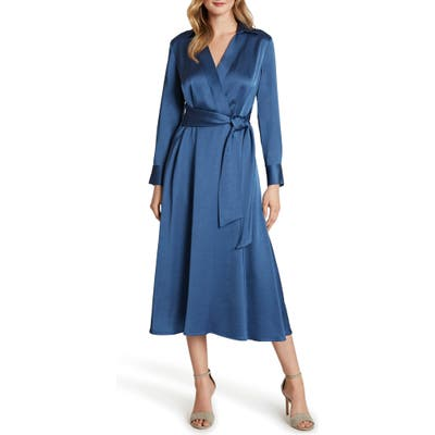 Petite Tahari Wrap Front Long Sleeve Satin Midi Dress, Blue