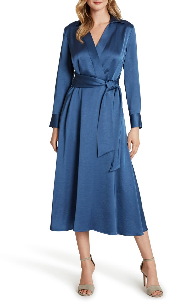 TAHARI Wrap Front Long Sleeve Satin Midi Dress, Main, color, PERIWINKLE