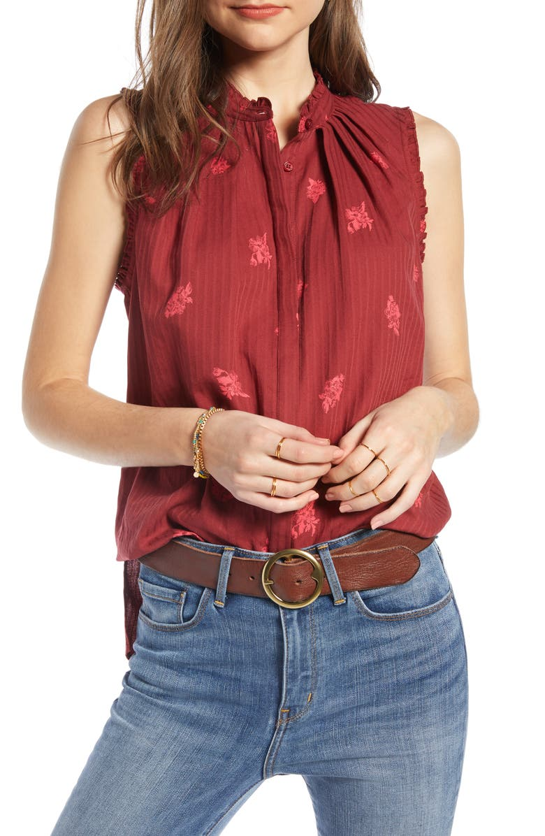 TREASURE & BOND Pleat & Ruffle Top, Main, color, RED RUSSET FLORAL TOSS