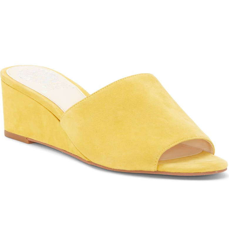 VINCE CAMUTO Stephena Wedge Slide Sandal, Main, color, YELLOW SUEDE