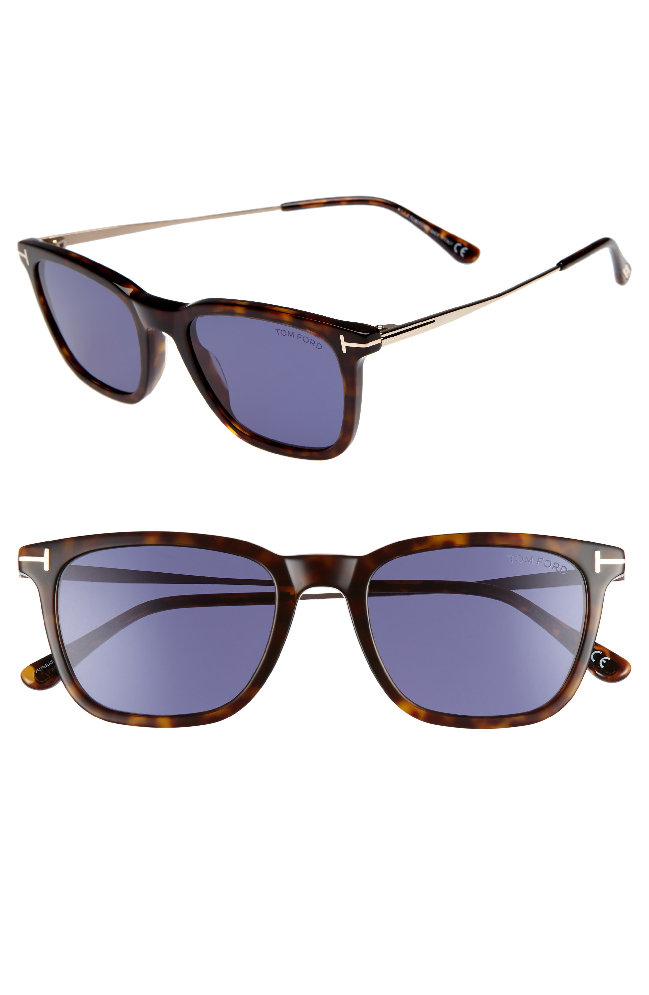 Tom Ford 5m Rectangle Sunglasses - Dark Havana/ Blue