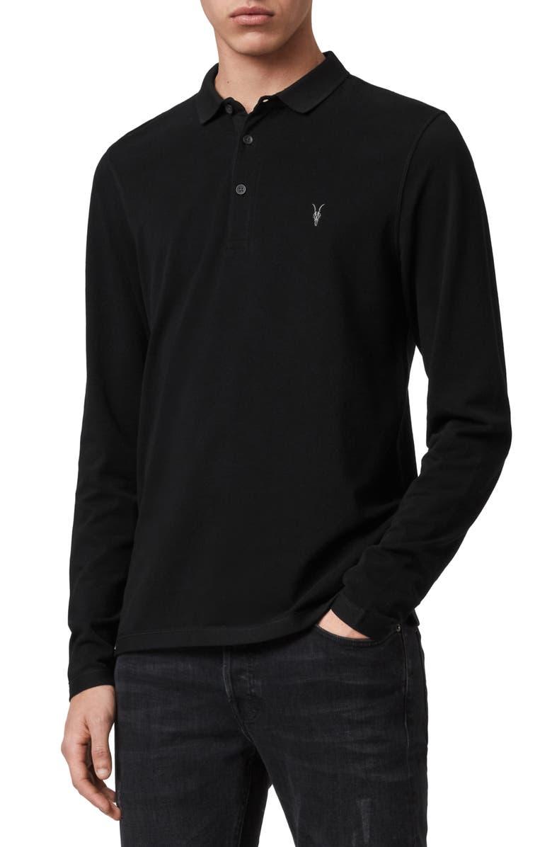 ALLSAINTS Reform Slim Fit Long Sleeve Polo Shirt, Main, color, BLACK