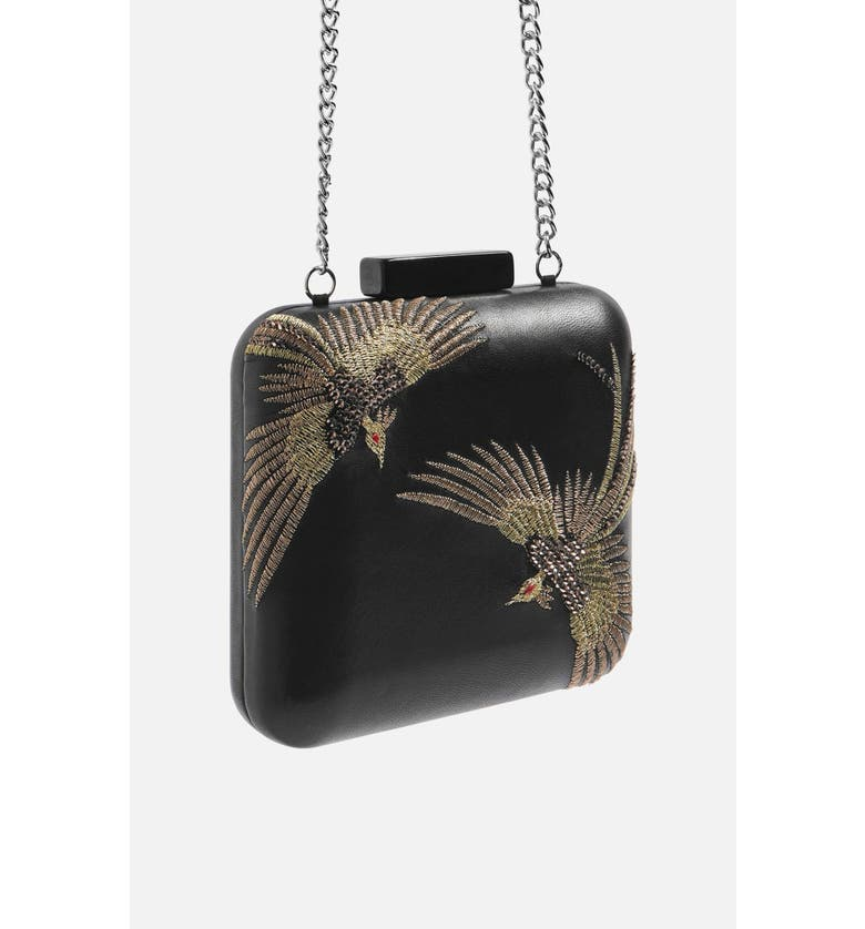 TOPSHOP Embroidered Bird Boxy Leather Crossbody Bag, Main, color, 001