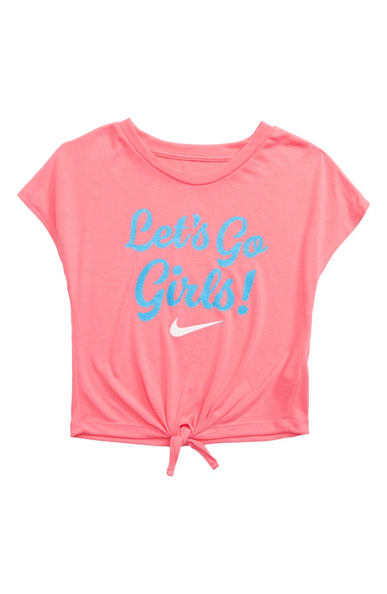 NIKE Let's Go Girls Graphic Knot Tee, Main, color, PINK GAZE