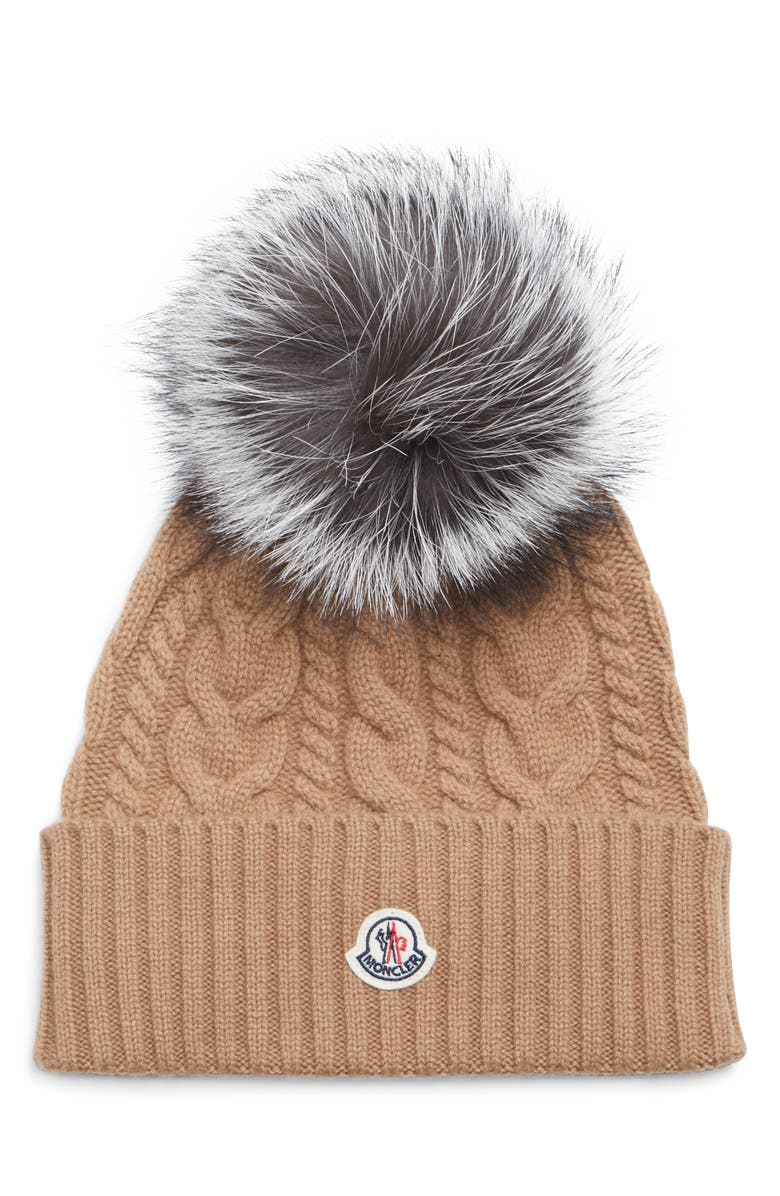 MONCLER Cable Knit Beanie with Genuine Fox Fur Pom, Main, color, MILITARY