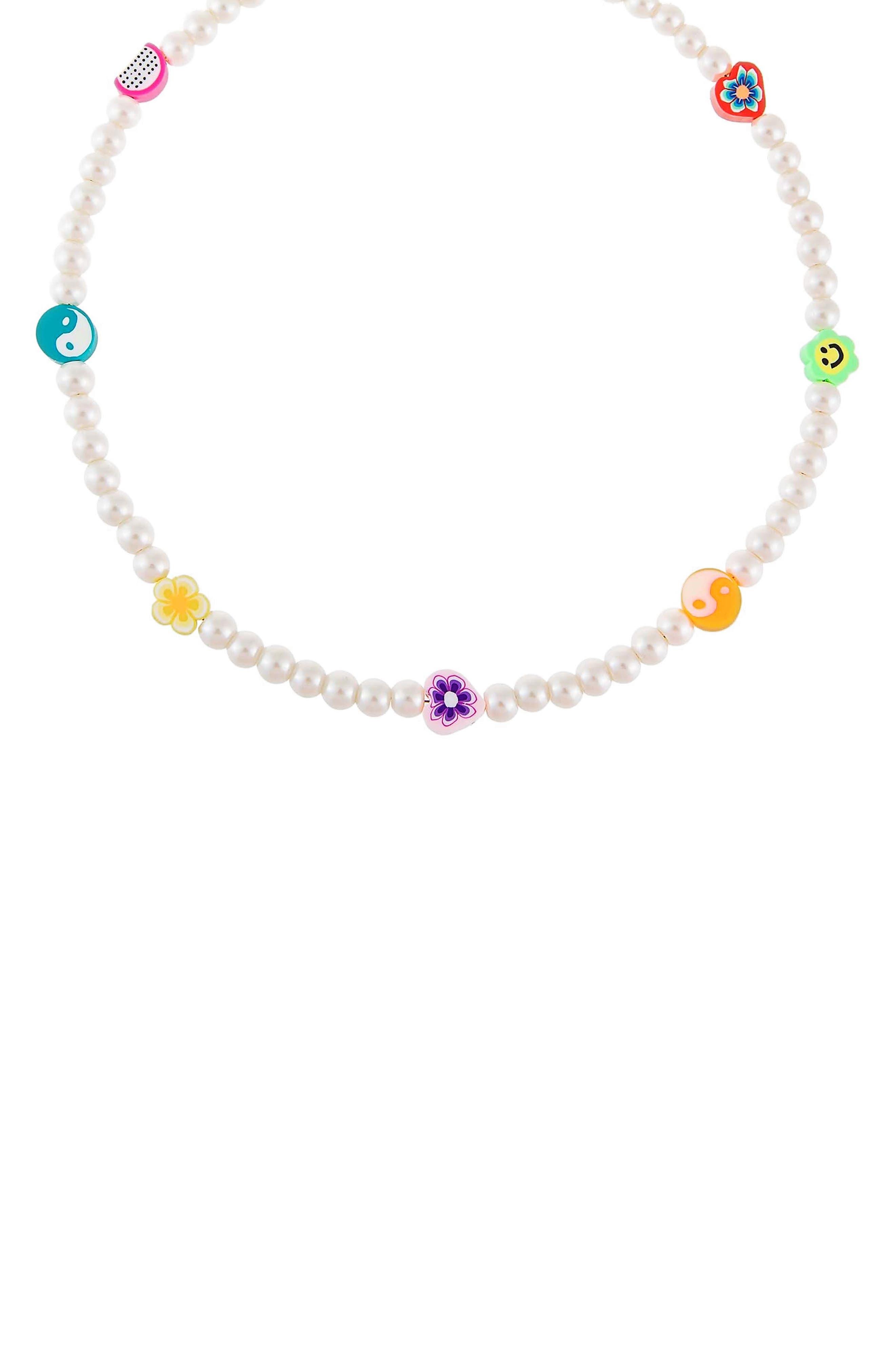 Women's Adina's Jewels Multicharm Imitation Pearl Necklace