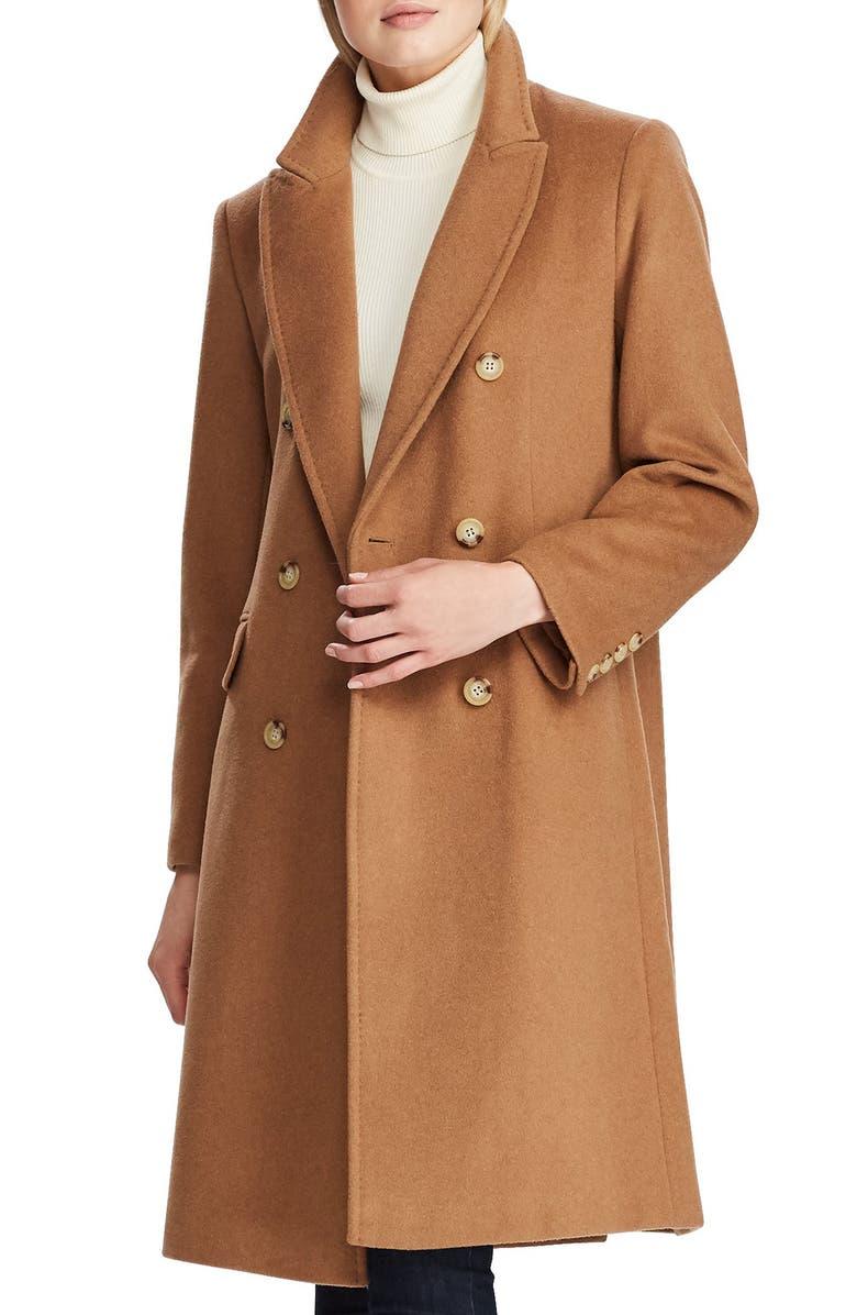 LAUREN RALPH LAUREN Double Breasted Reefer Coat, Main, color, NEW VICUNA