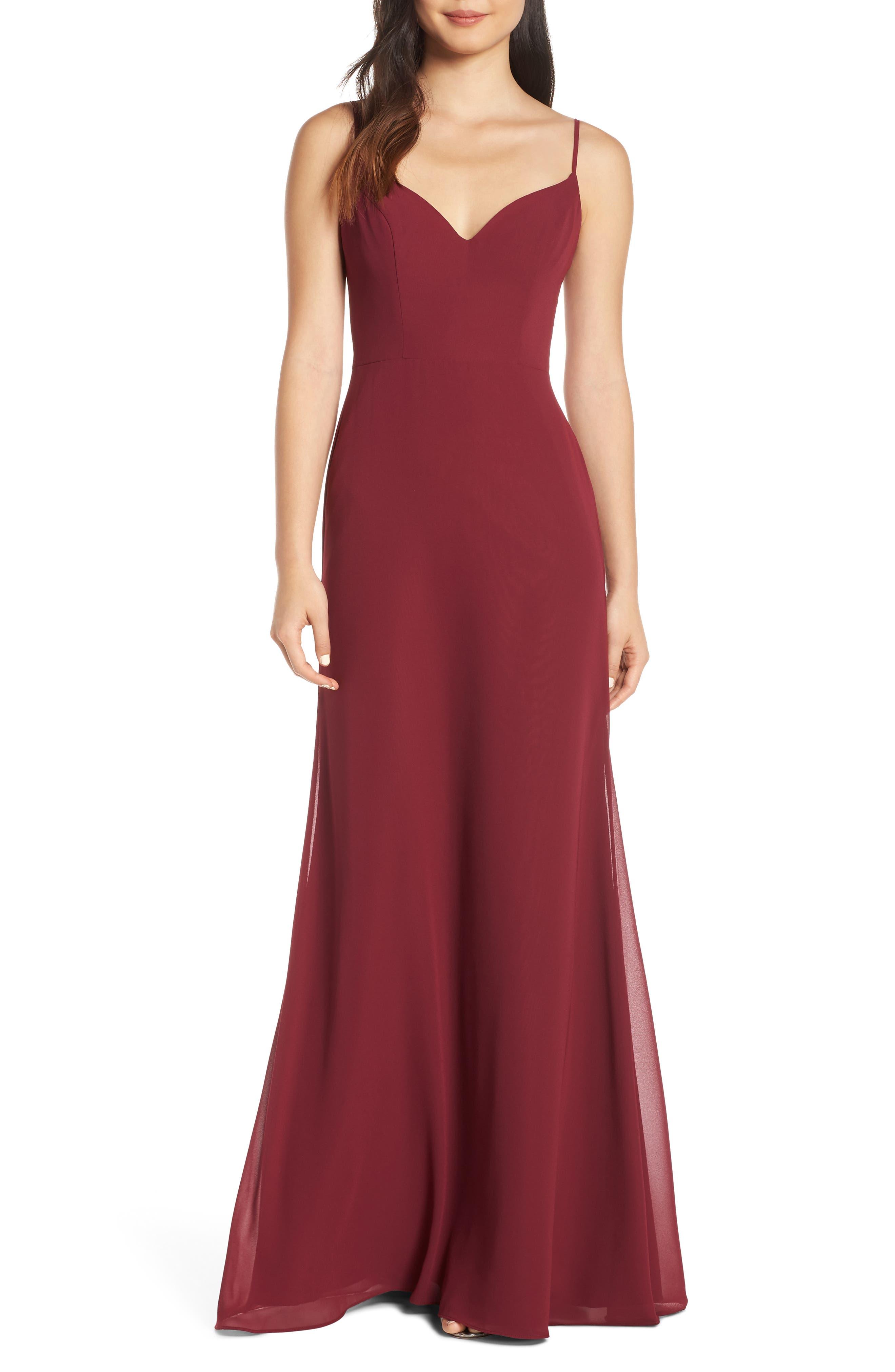Hayley Paige Occasions V-Neck Chiffon Evening Dress, Burgundy