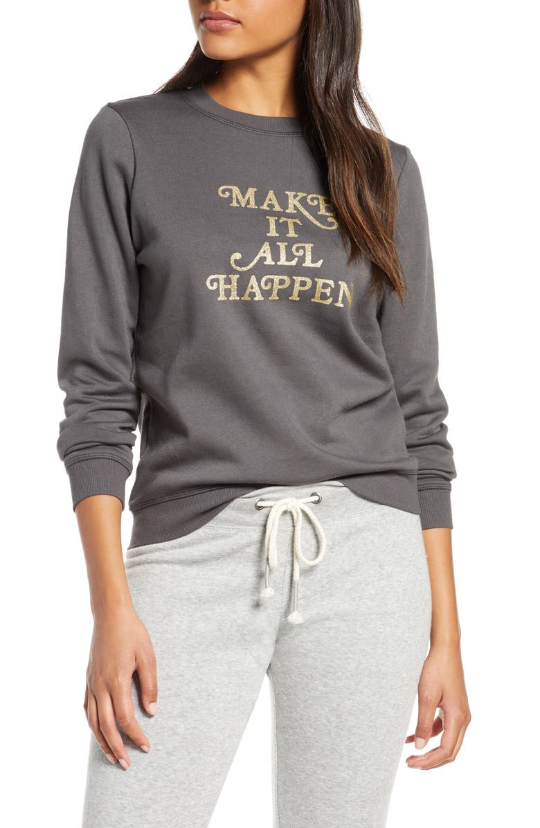 BAN.DO Make It All Happen Sweatshirt, Main, color, BLACK