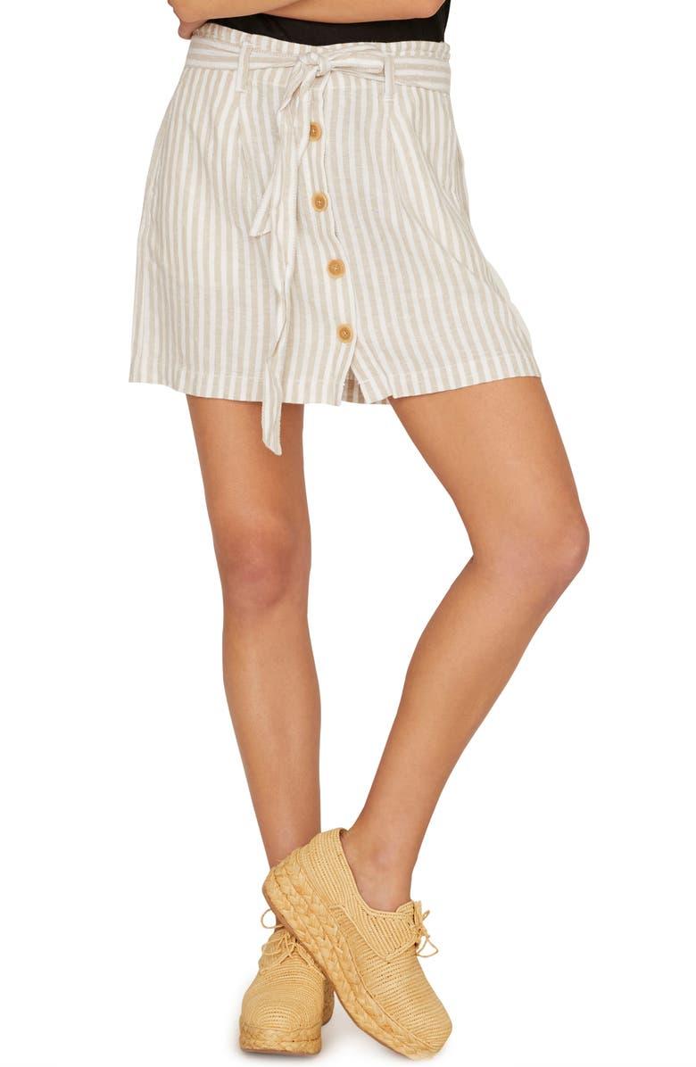 SANCTUARY Sagebrush Paperbag Waist Stripe Skirt, Main, color, 250