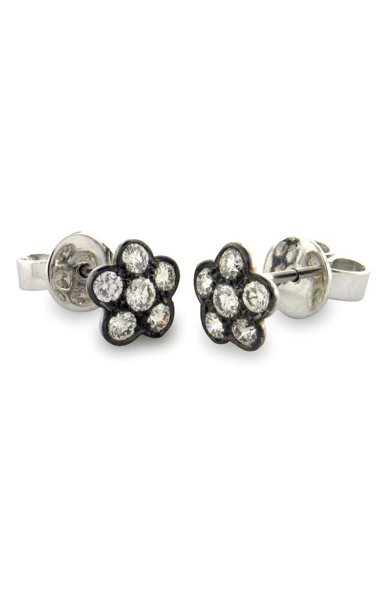 SETHI COUTURE Diamond Flower Stud Earrings, Main, color, BLACK RHODIUM/ DIAMOND