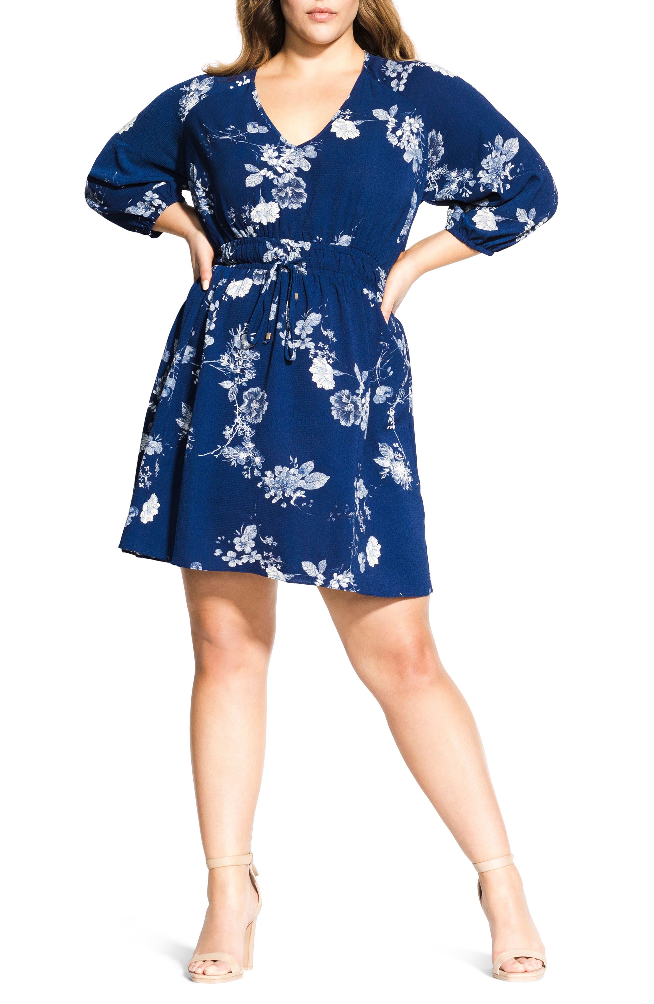 Plus Size City Chic Floral Print Drawstring Waist Dress, Blue