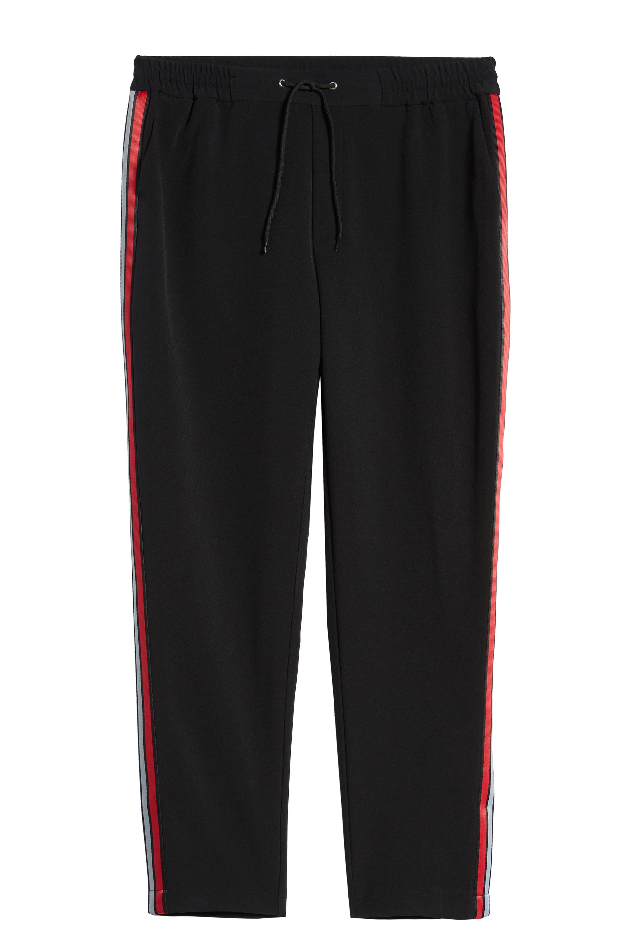 ,                             Classic Fit Side Stripe Cropped Jogger Pants,                             Alternate thumbnail 7, color,                             BLACK