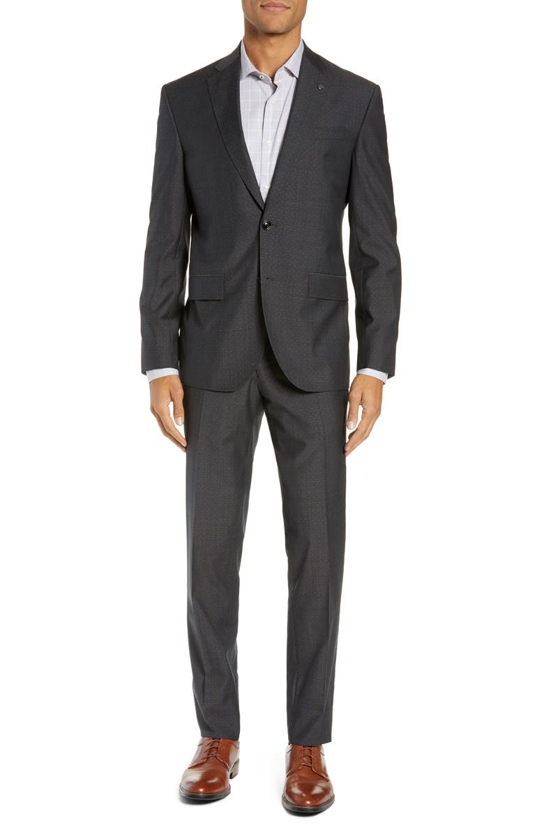 TED BAKER LONDON Roger Slim Fit Dobby Wool Suit, Main, color, GREY