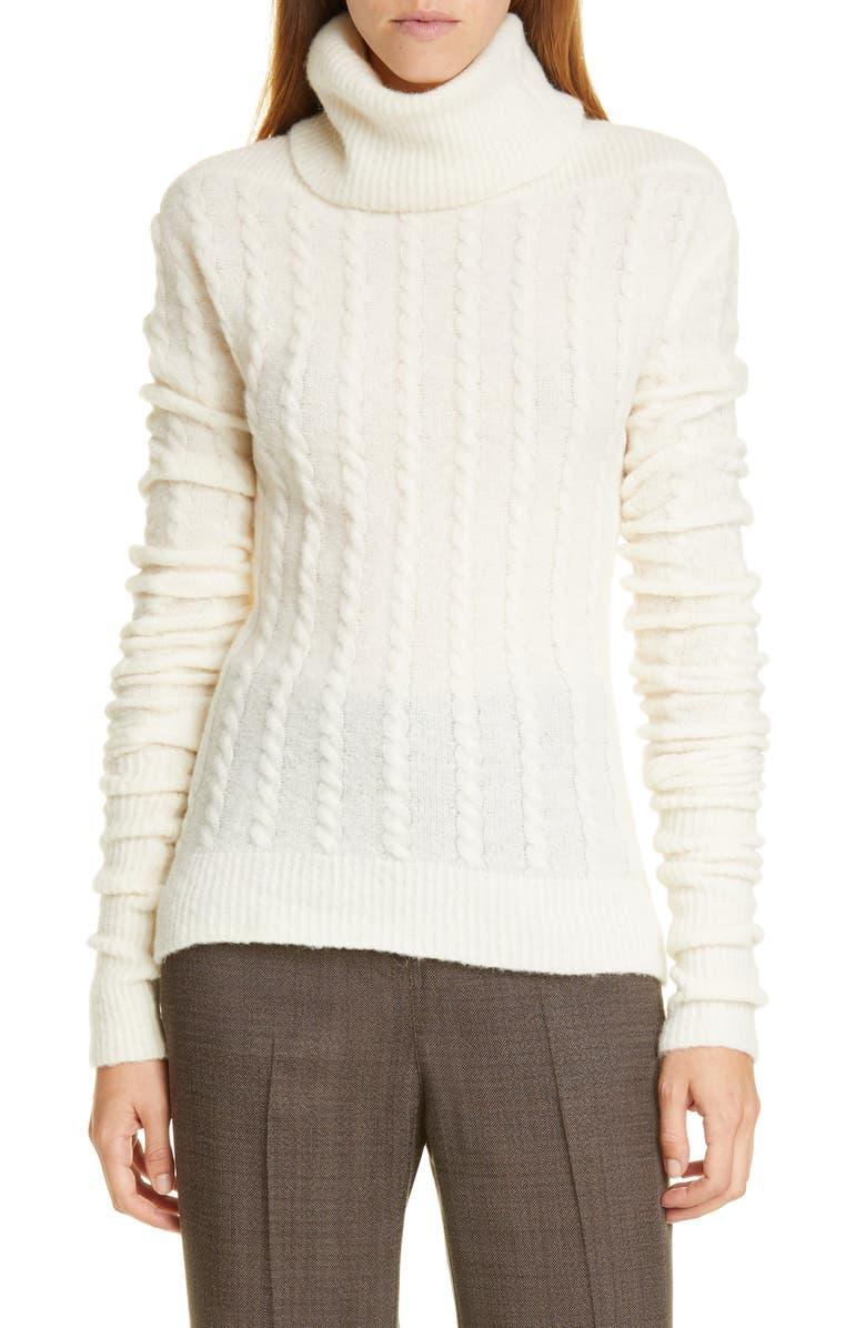 JACQUEMUS La Maille Sofia Turtleneck Sweater, Main, color, WHITE
