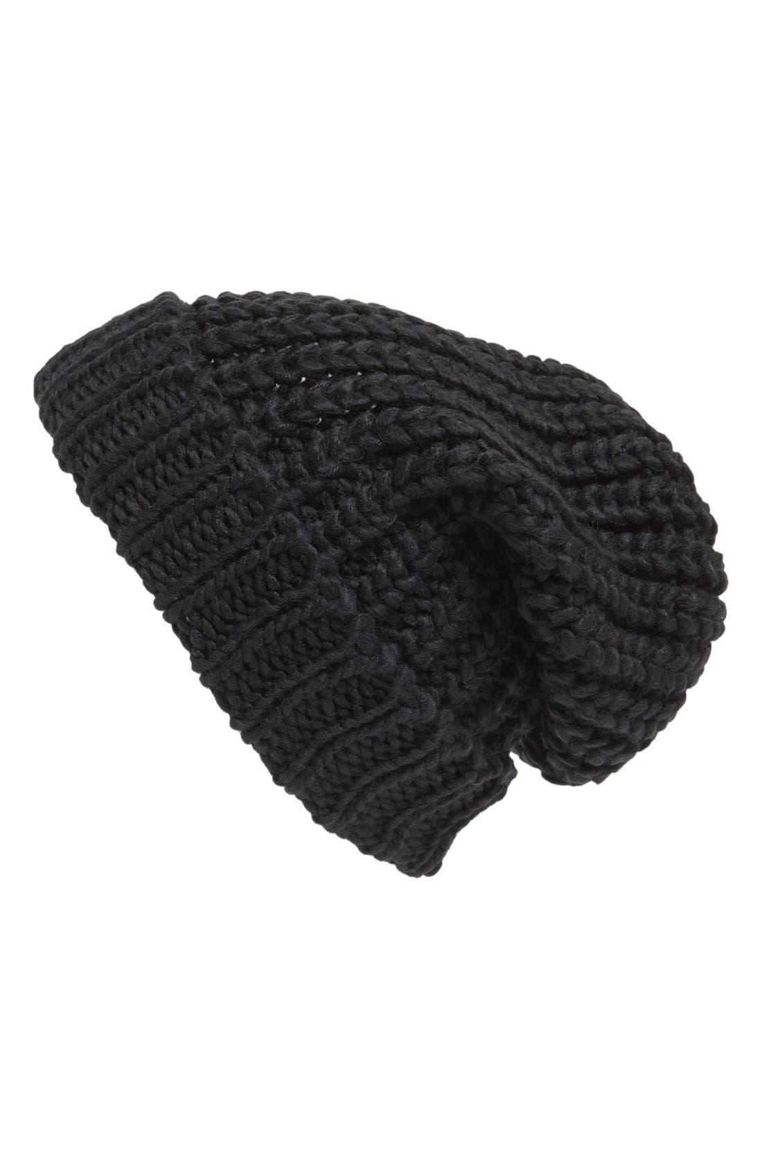 ,                             Chunky Rib Knit Beanie,                             Main thumbnail 1, color,                             001
