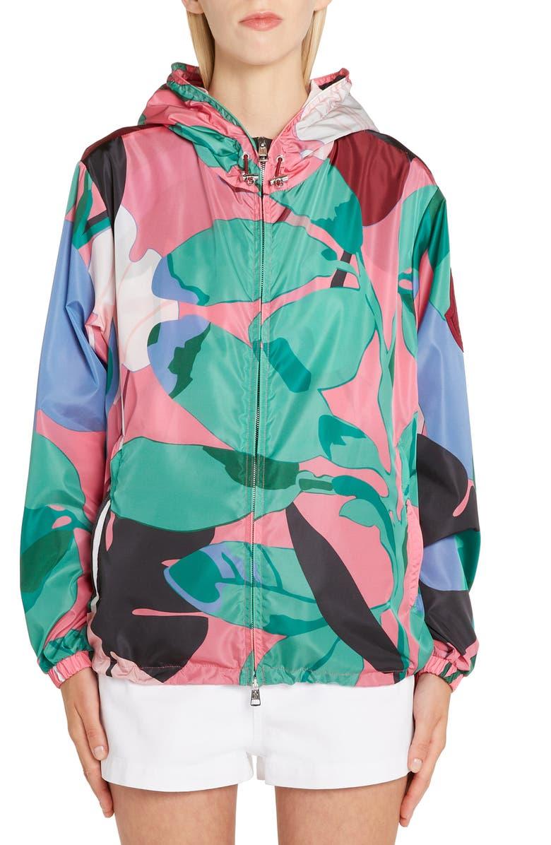 MONCLER Alexandrite Print Hooded Jacket, Main, color, 690