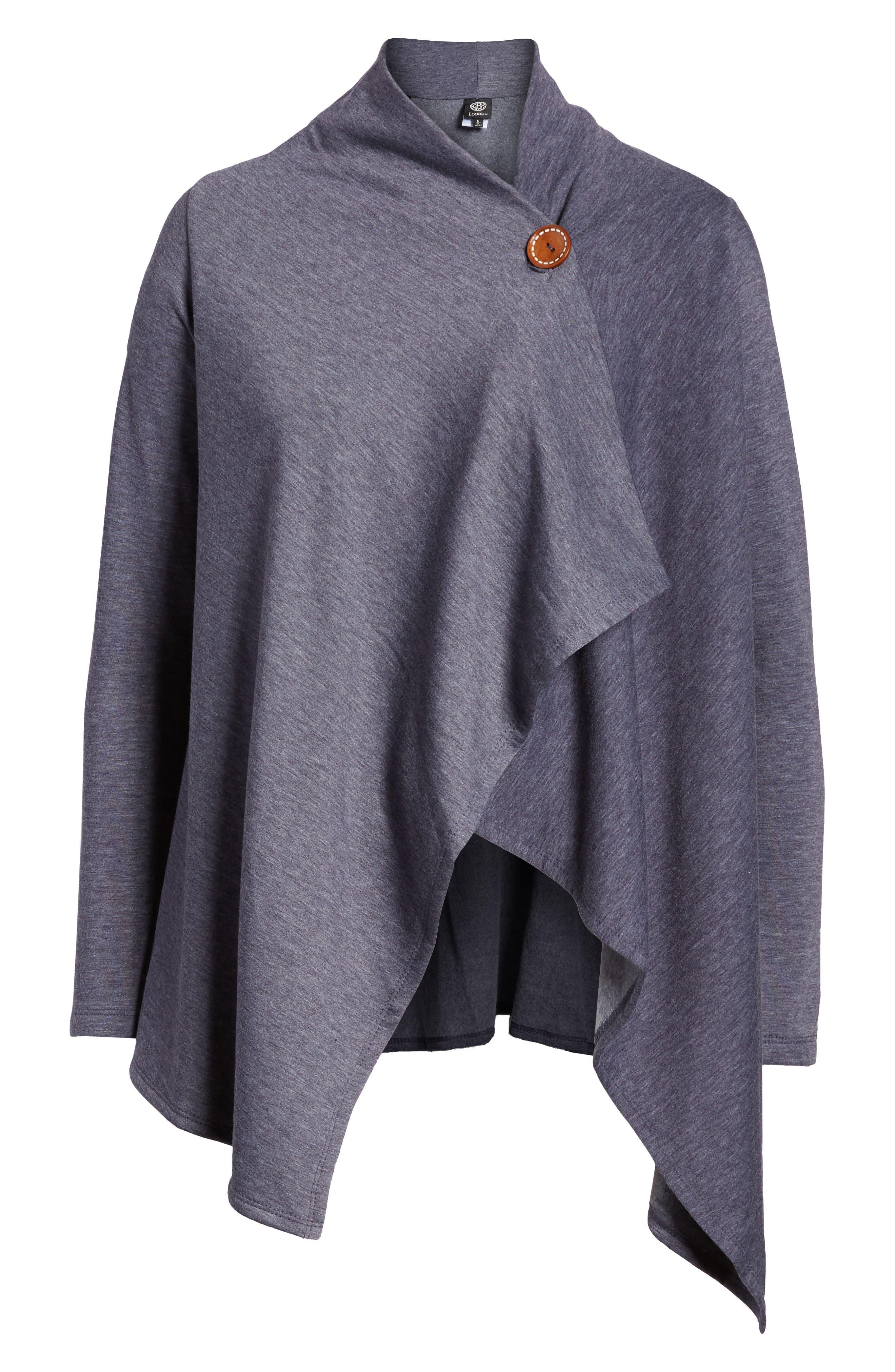 ,                             One-Button Fleece Wrap Cardigan,                             Main thumbnail 132, color,                             424