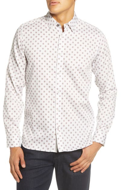 Ted Baker T-shirts FILLE SLIM FIT CIRCLE GEO PRINT BUTTON-UP SHIRT