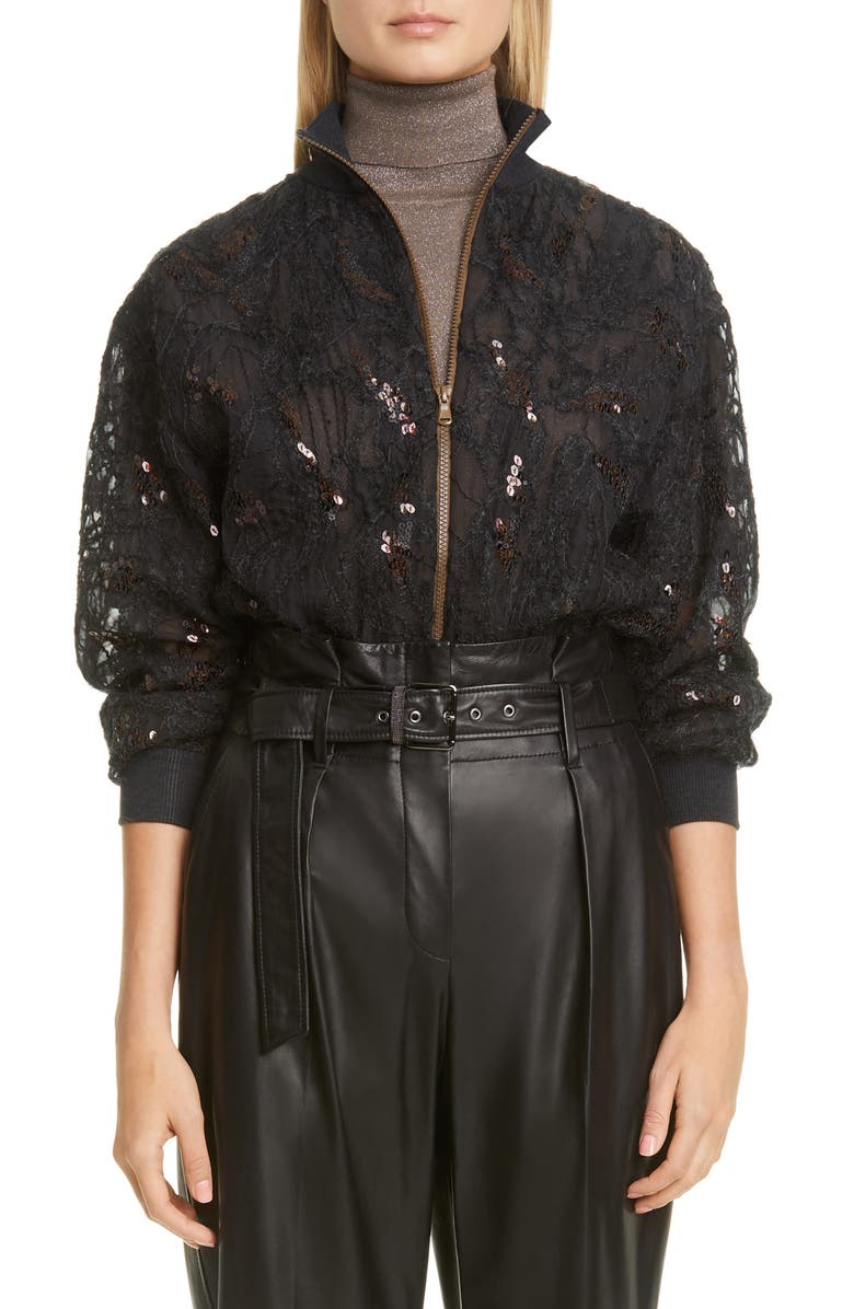 BRUNELLO CUCINELLI Embellished Silk Tulle Bomber Jacket, Main, color, VOLCANO