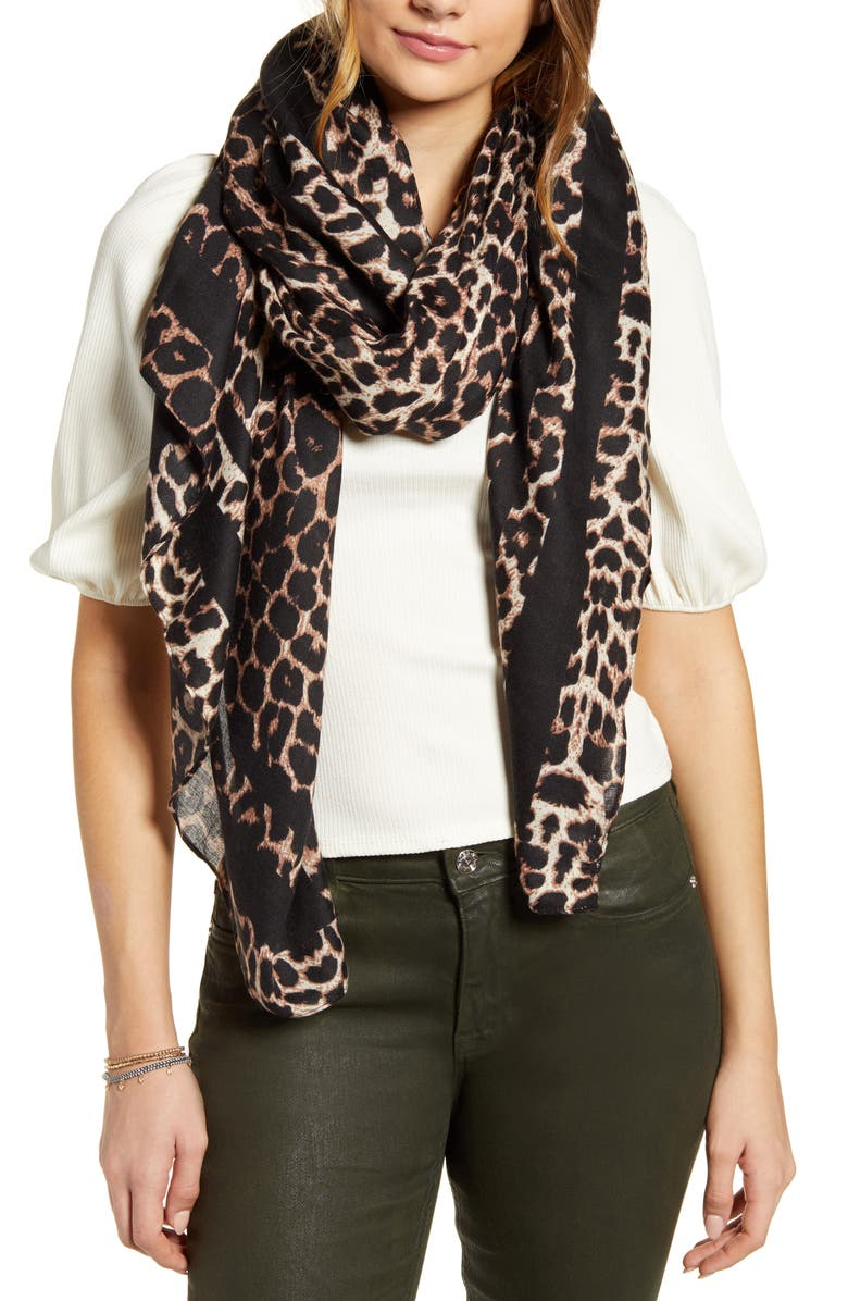BP. Leopard Print Scarf, Main, color, BROWN MULTI