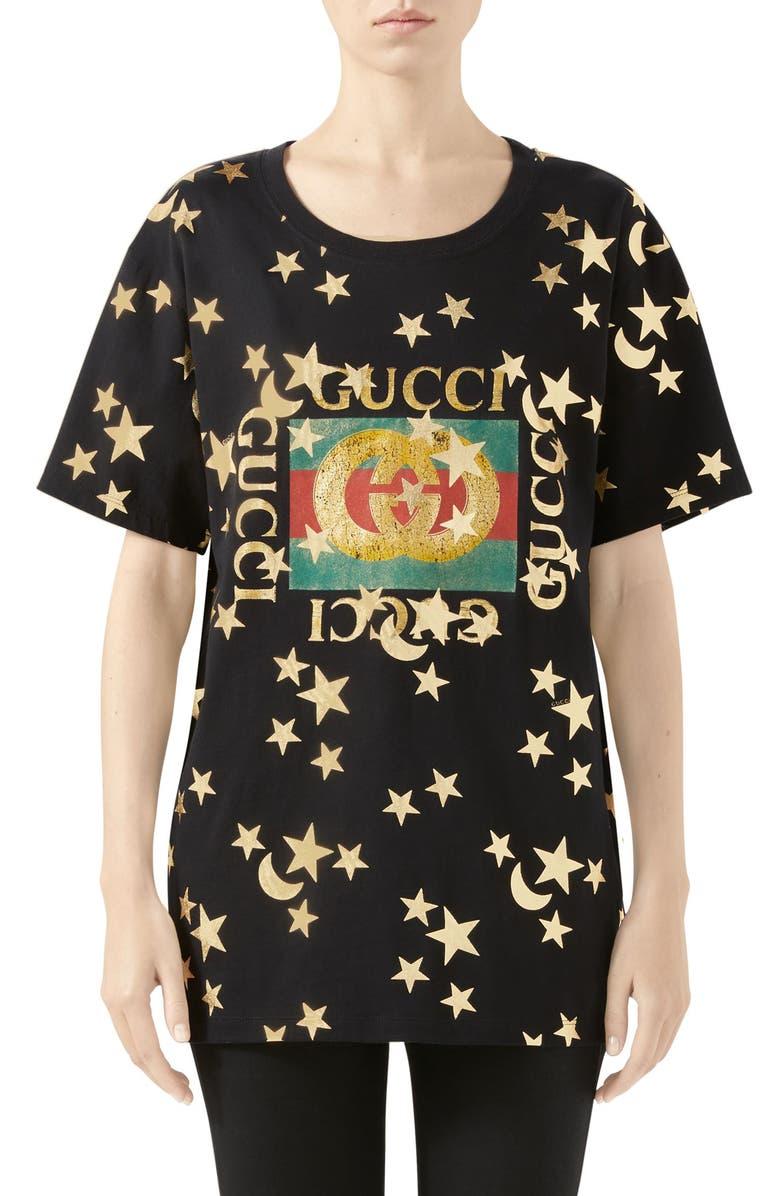 58df4d221838 Star & Moon Logo Print Cotton Tee, Main, color, BLACK/ MULTICOLOR
