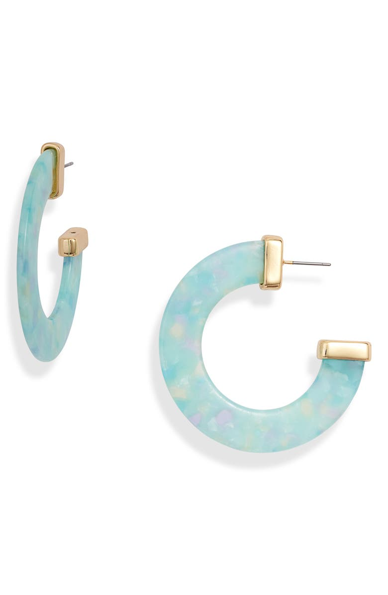 STERLING FOREVER Cap Resin Hoop Earrings, Main, color, MERMAID