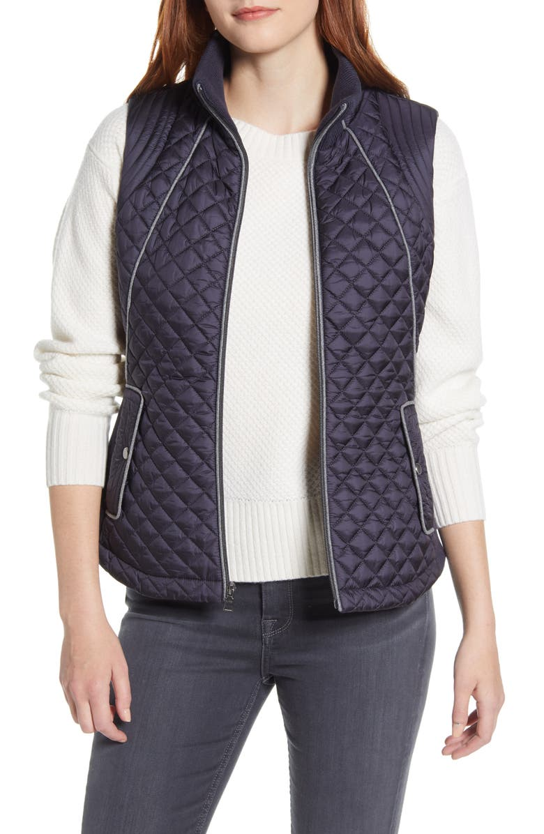 GALLERY Knit Side Quilted Vest, Main, color, INK NAVY