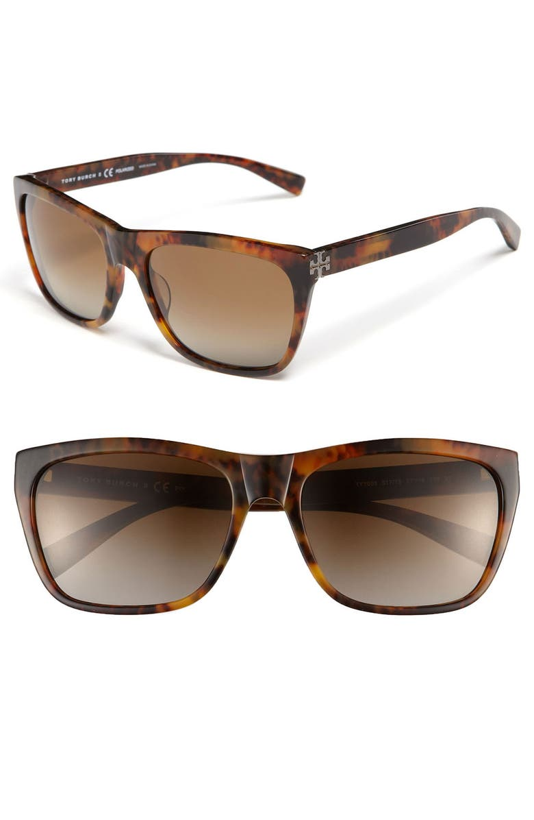 TORY BURCH 57mm Polarized Sunglasses, Main, color, 200