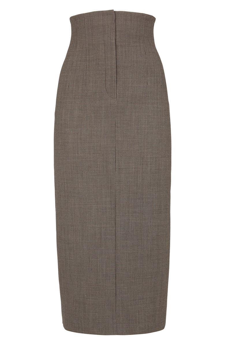 FENDI Micro Check High Waist Wool Pencil Skirt, Main, color, OPERATOR