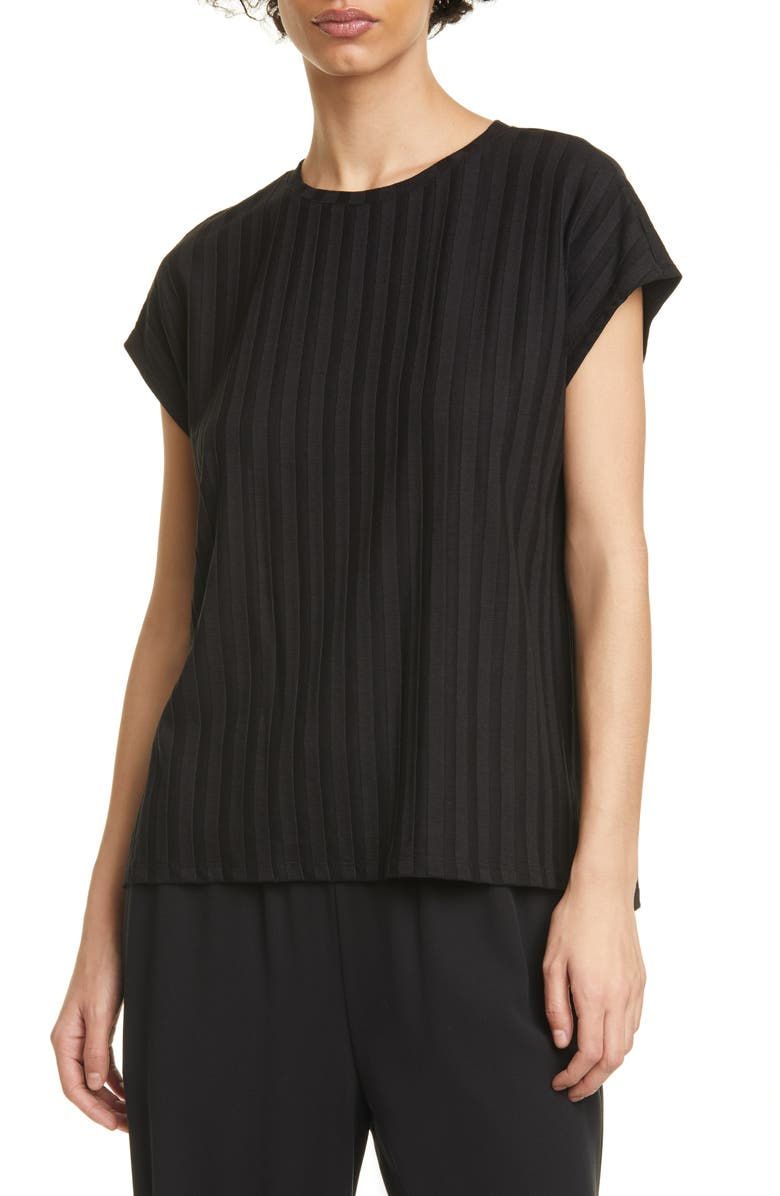 EILEEN FISHER Ribbed Top, Main, color, BLACK