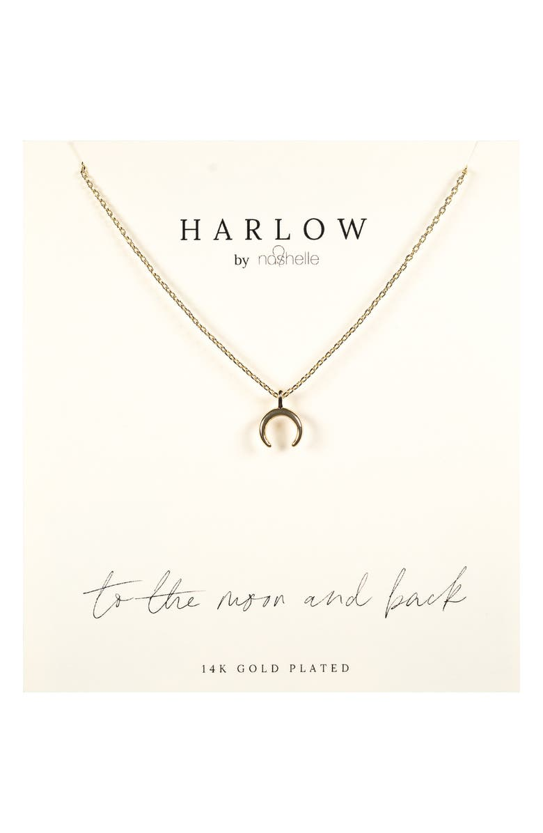 NASHELLE HARLOW by Nashelle Crescent Moon Boxed Necklace, Main, color, GOLD