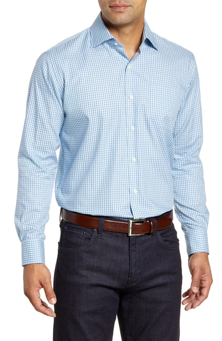 PETER MILLAR Cedar Island Micro Tattersall Button-Up Shirt, Main, color, CAROLINA SKY