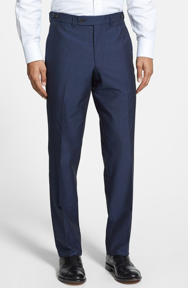 TED BAKER LONDON 'Cook' Flat Front Wool & Cotton Trousers, Main, color, 410