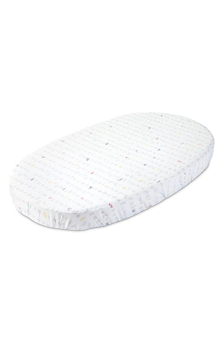 STOKKE x Pehr Sleepi Organic Cotton Fitted Sheet, Main, color, RAINBOW ALPHABET