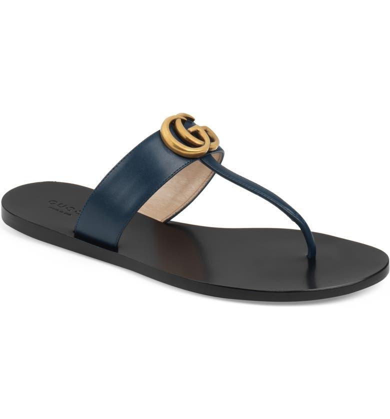 GUCCI Marmont T-Strap Sandal, Main, color, BLUE