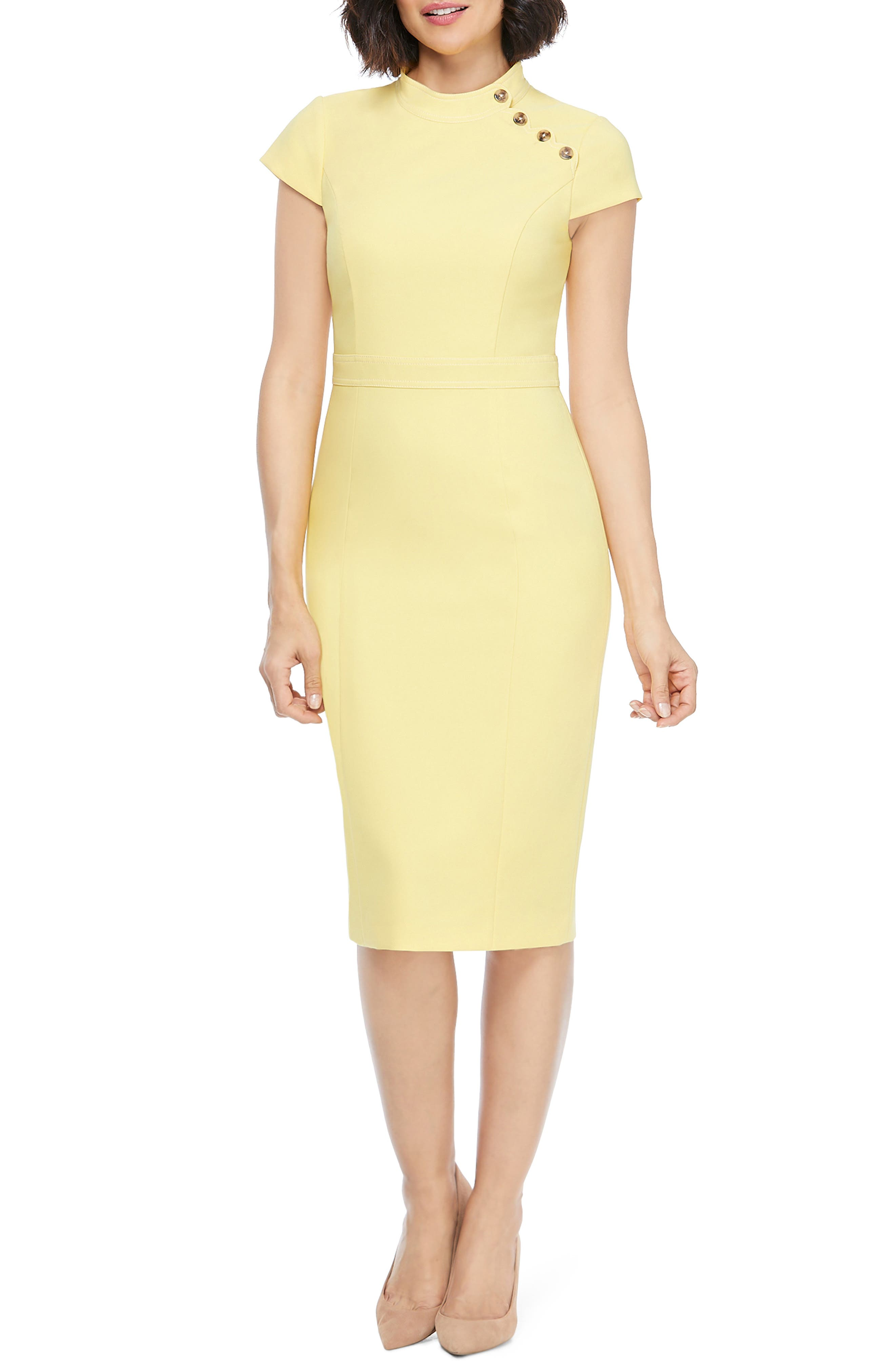 Image of Maggy London Mock Neck Cap Sleeve Sheath Dress
