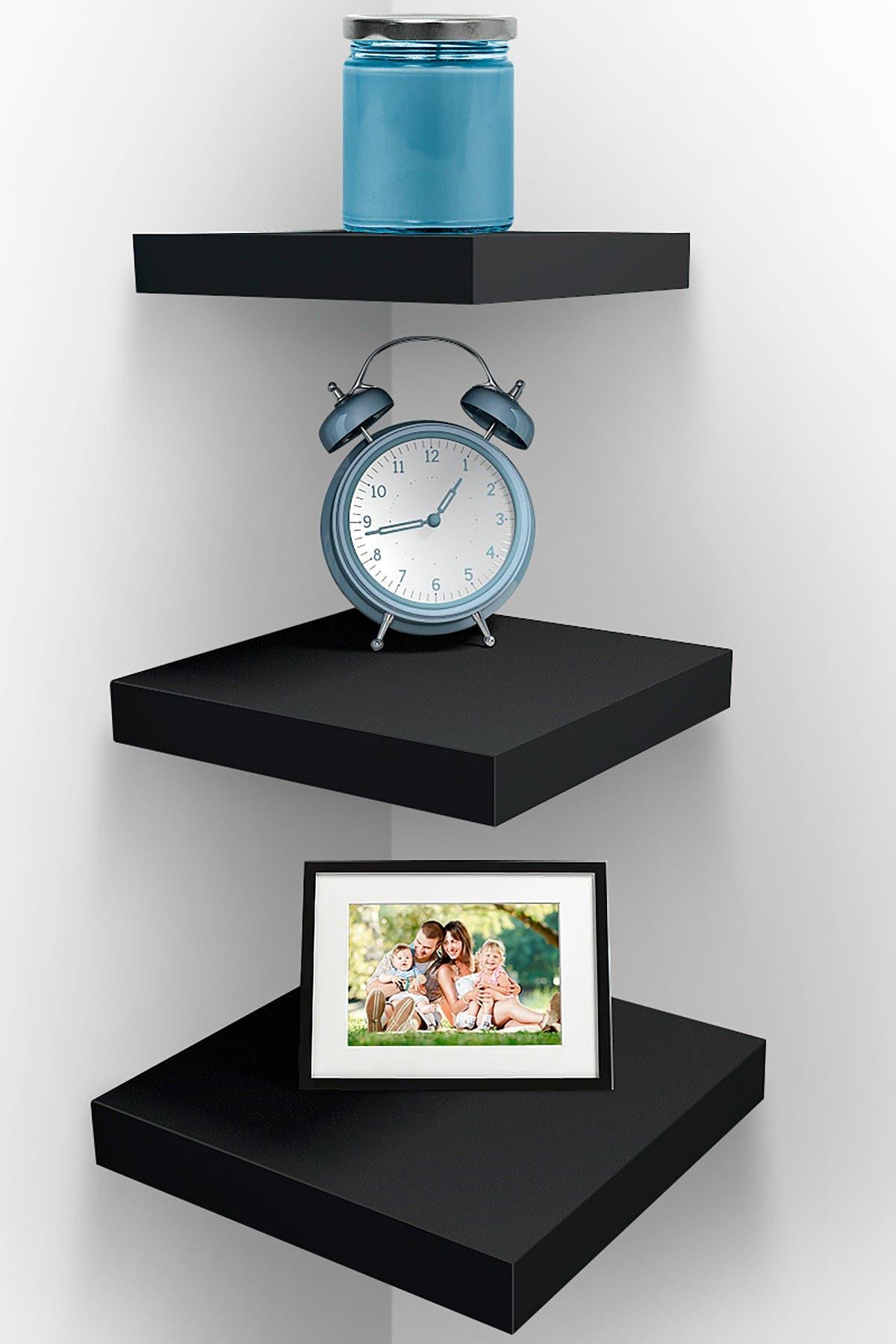 Image of Sorbus Black Floating Shelf - Set of 3