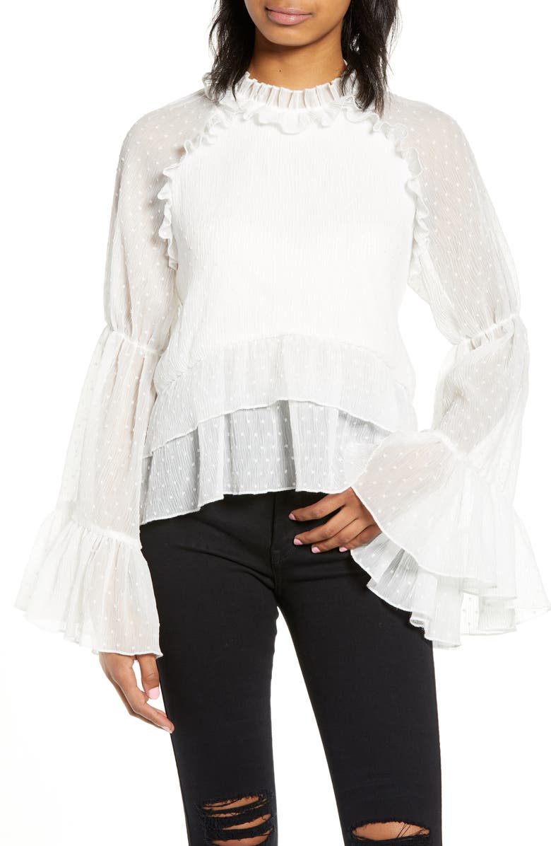 ENDLESS ROSE Bell Sleeve Top, Main, color, 100