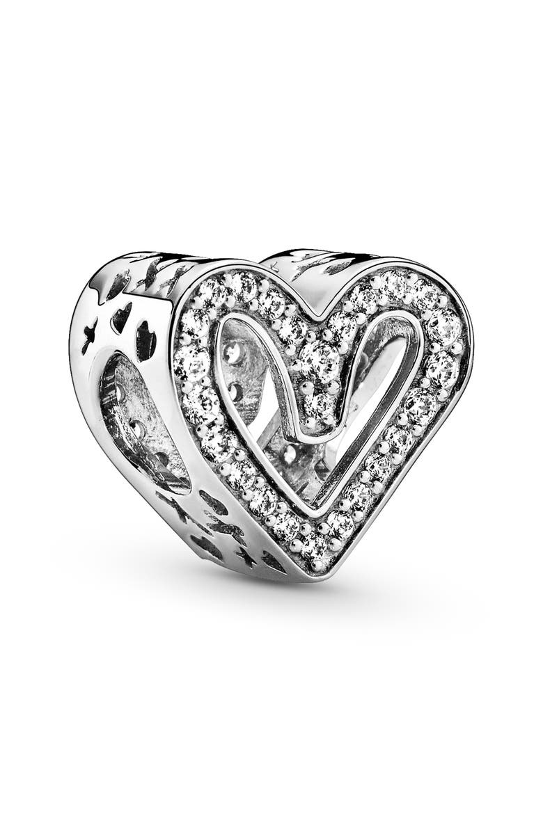 PANDORA Sparkling Freehand Heart Charm, Main, color, 040