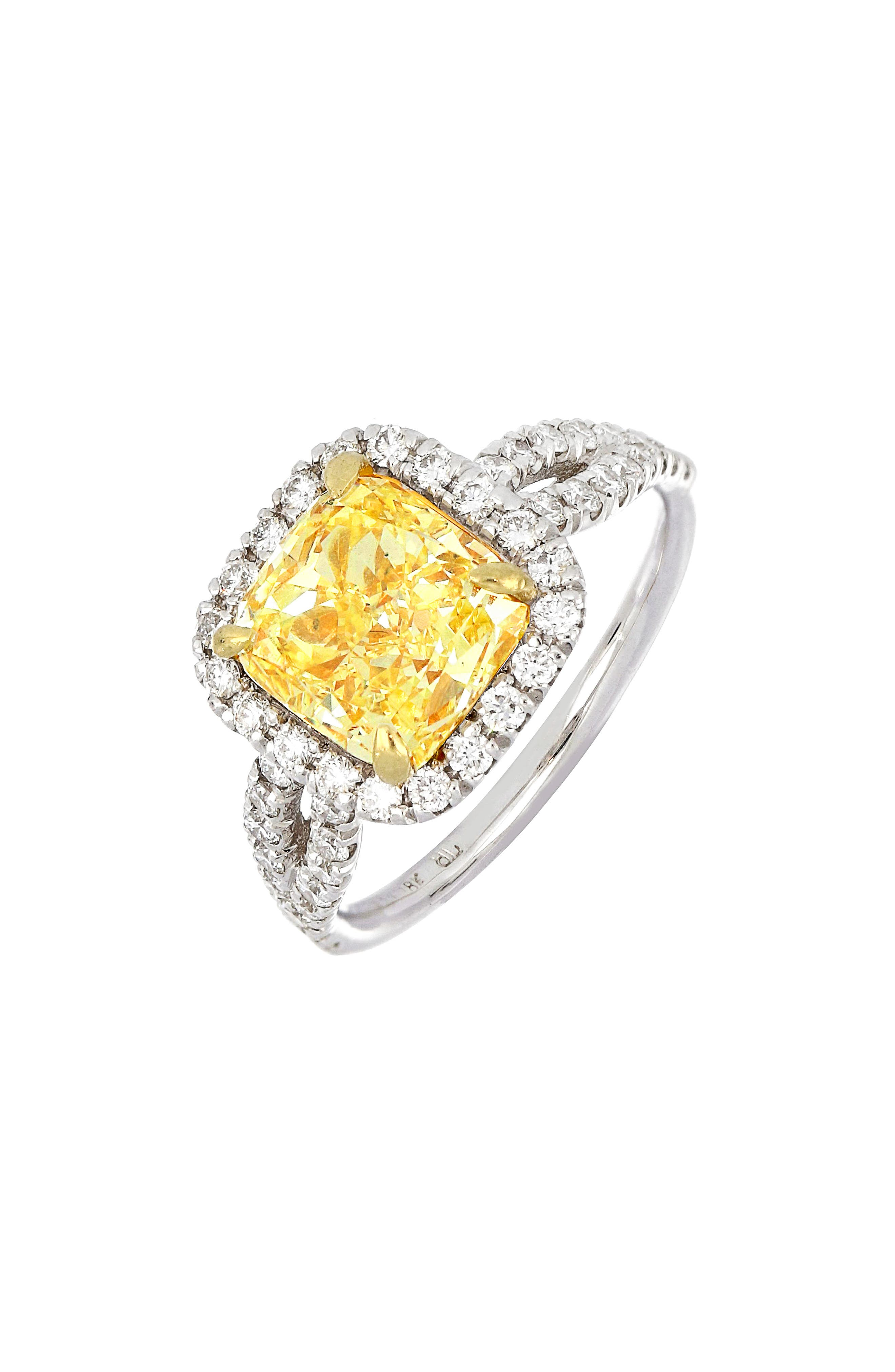 Yellow-gold prongs clutch a cushion-cut diamond in a sunny shade of yellow on this handcrafted ring with a pave-diamond halo and split shank. Style Name: Bony Levy Cushion Yellow Diamond Halo Ring (Nordstrom Exclusive). Style Number: 6061587. Available in stores.