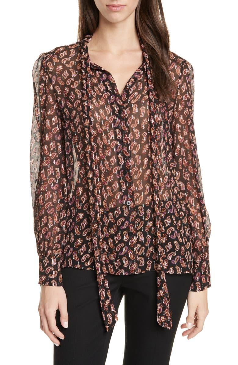 DVF Lanie Paisley Tie Neck Silk Blend Blouse, Main, color, TIE PAISLEY BLACK