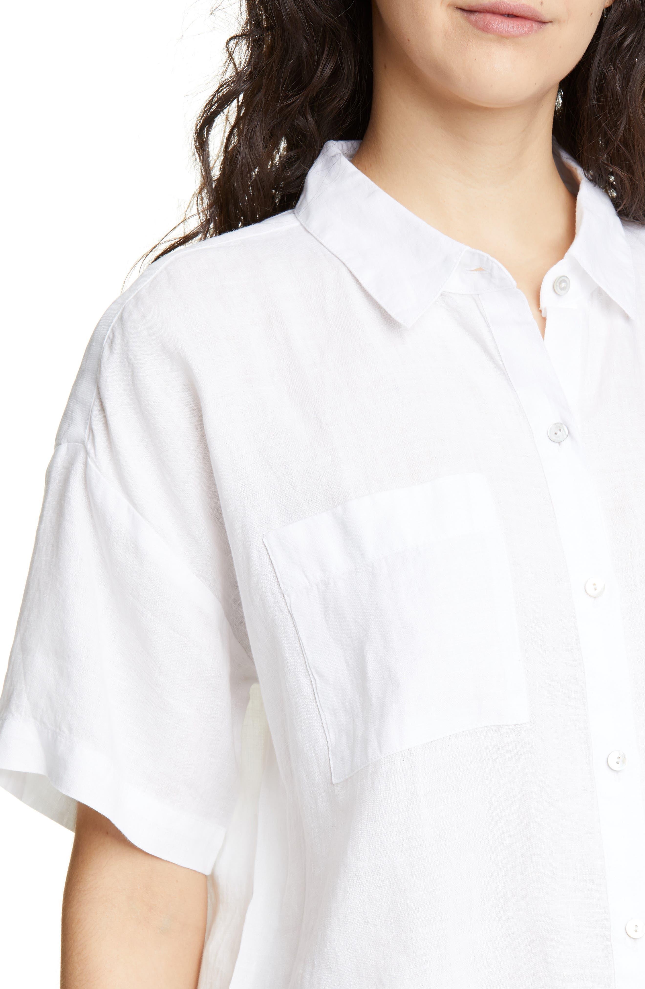 ,                             Organic Linen Shirt,                             Alternate thumbnail 4, color,                             WHITE