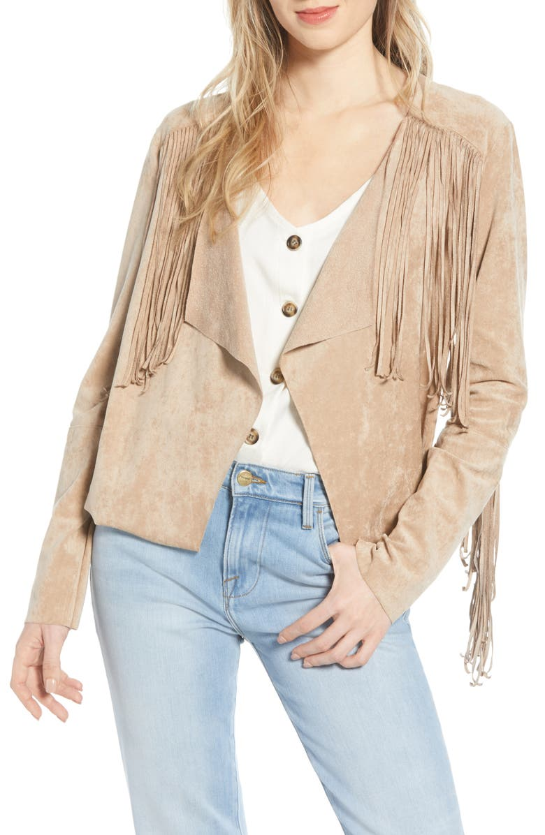 BISHOP + YOUNG Fringe Faux Suede Jacket, Main, color, DESERT