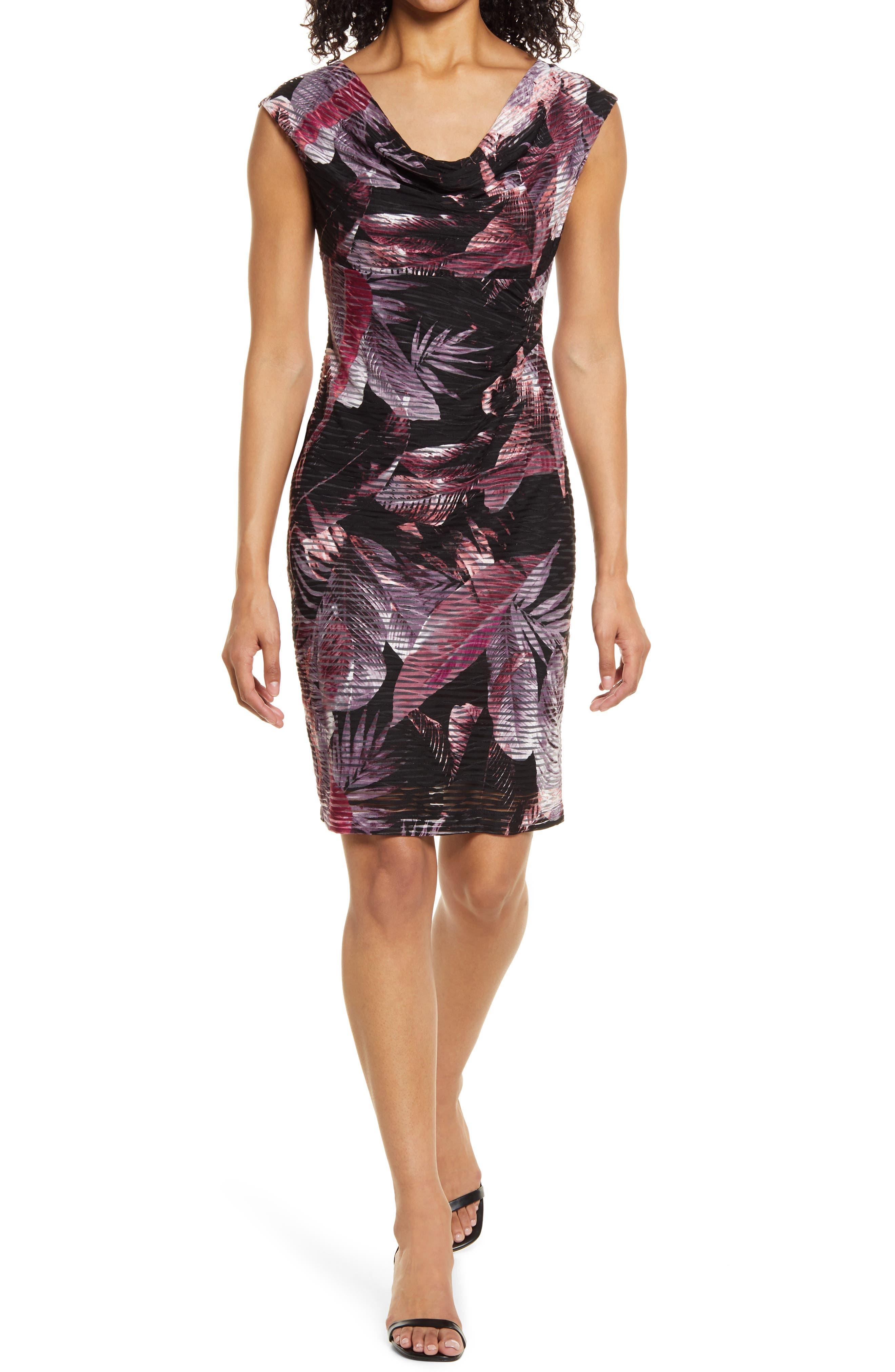Leaf Jacquard Cowl Neck Sheath Dress