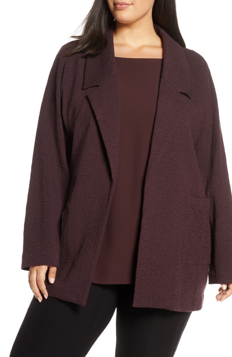 EILEEN FISHER Notched Collar Textured Jacket, Main, color, 554