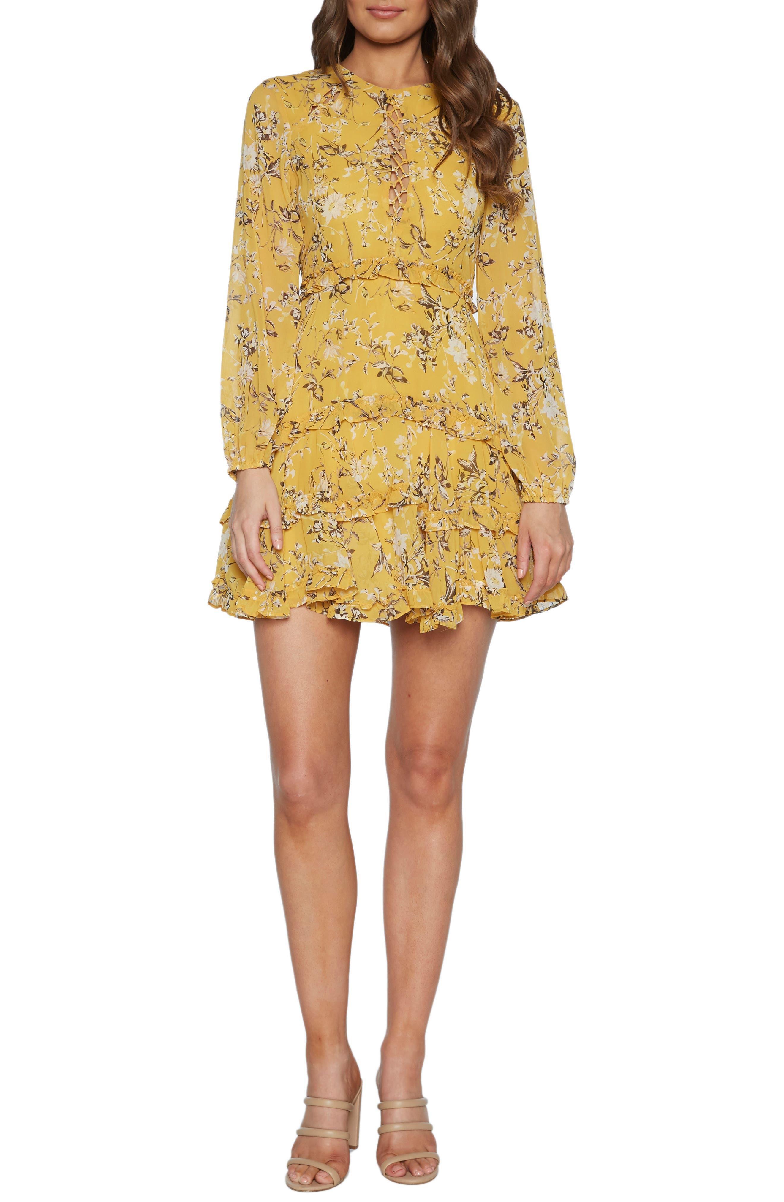 Bardot Floral Long Sleeve Frill Minidress, Yellow