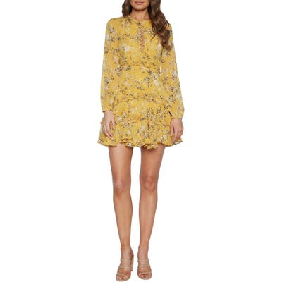 Bardot Floral Long Sleeve Frill Minidress, Yellow