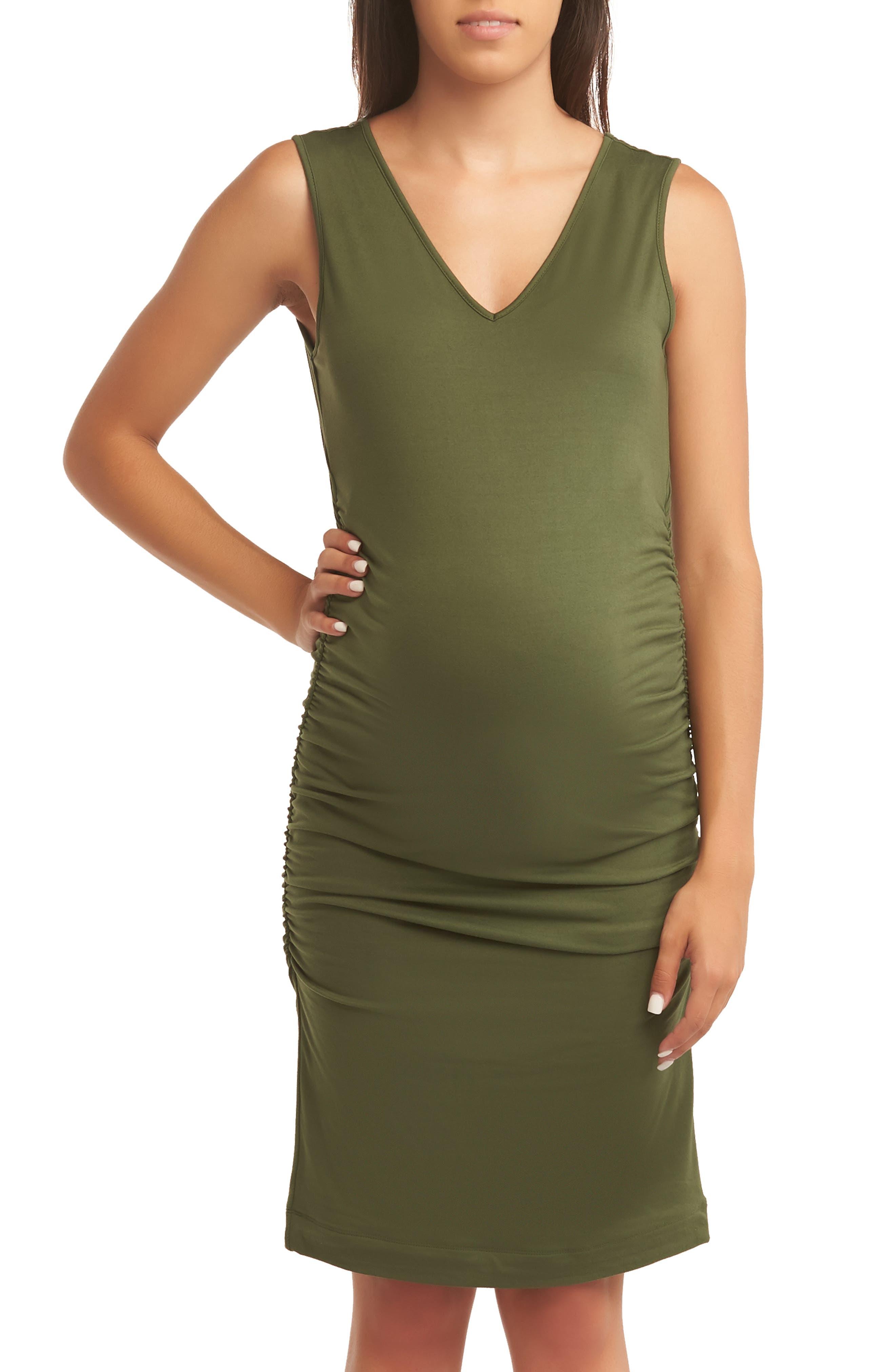Baby Moon Maternity Tank Dress, Green
